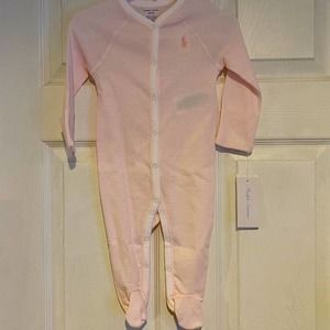 New Ralph Lauren pink striped footie pjs 6 months